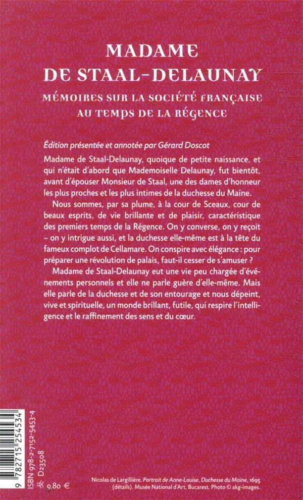 Mémoires sur la société française au temps de la Régence