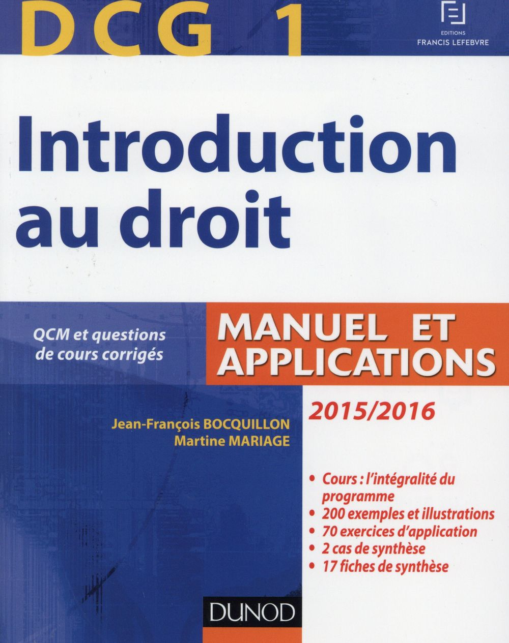 Dcg 1 ; introduction au droit (édition 2015/2016)