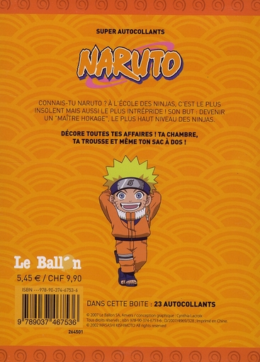 Naruto ; autocollants metalliques