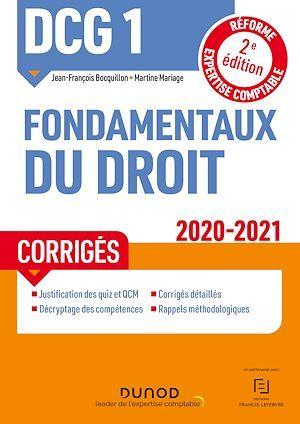 DCG 1 ; fondamentaux du droit ; corrigés (édition 2020/2021)