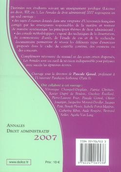 Annales droit administratif 2007 ; méthodologie & sujets corrigés