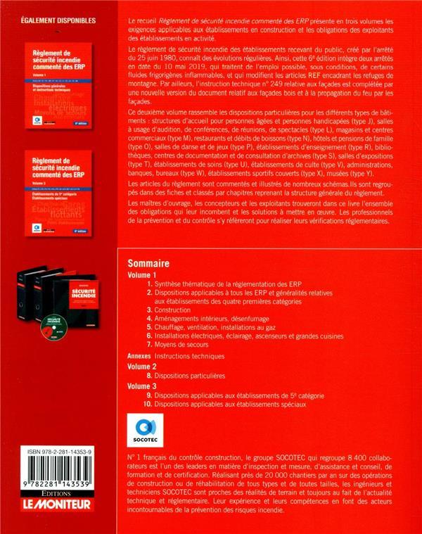 Règlement de sécurité incendie commenté des ERP t.2 ; dispositions particulières