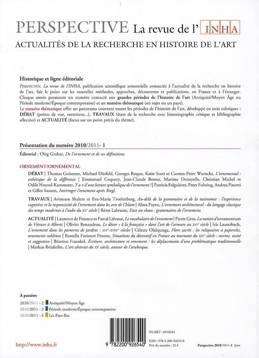 PERSPECTIVE - REVUE DE L'INHA n.1 ; ornement/ornemental ; 2010/1