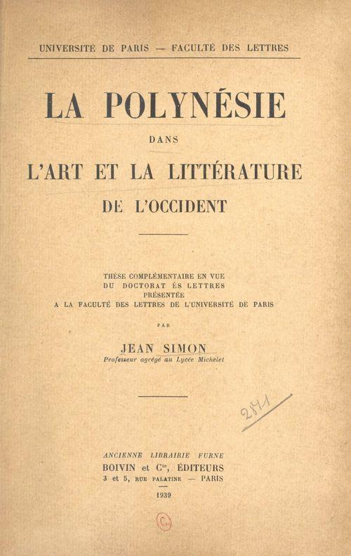 La Polynésie dans l'art et la littérature de l'Occident