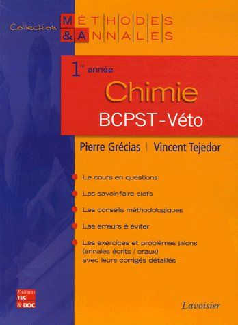 Chimie ; 1re annee ; bcpstveto