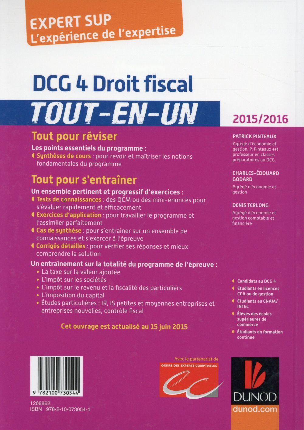 DCG 4 ; droit fiscal ; tout l'entraînement (9e édition)