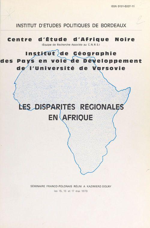 Les disparités régionales en Afrique