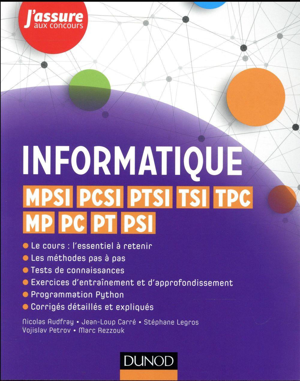 Informatique ; MPSI, PCSI, PTSI, TSI, TPC, MP, PC, PT, PSI