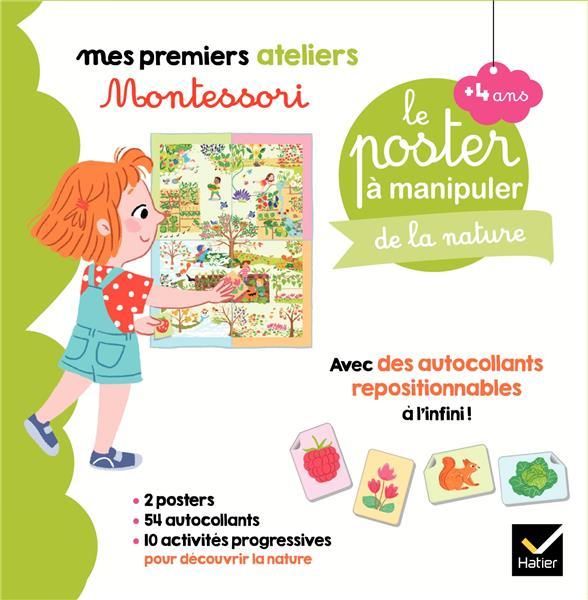 Mes premiers ateliers Montessori ; coffret Montessori poster à manipuler de la nature
