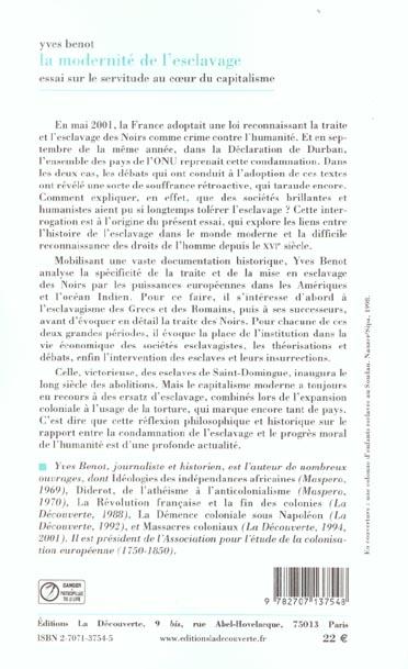 MODERNITE DE L'ESCLAVAGE ; ESSAI SUR LA SERVITUDE AU COEUR DU CAPITALISME