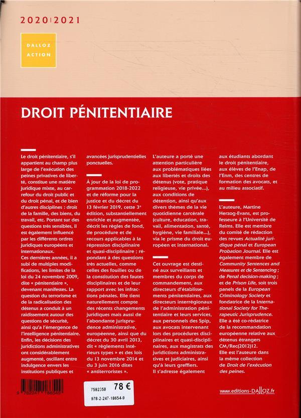 Droit pénitentiaire (édition 2020/2021)