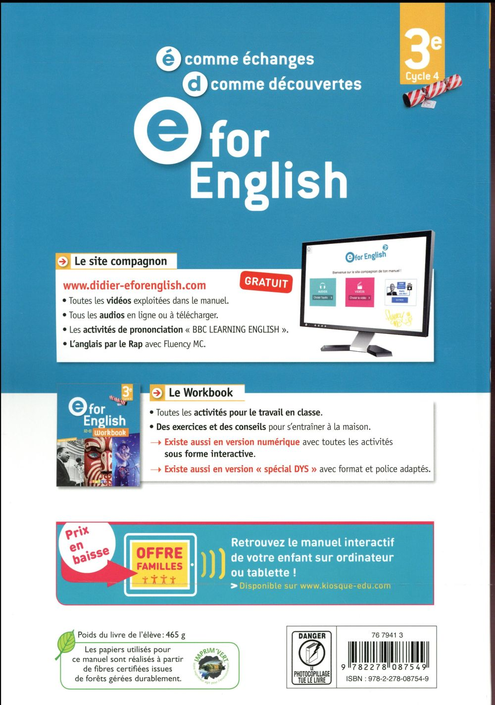E for english ; anglais ; livre (édition 2017)