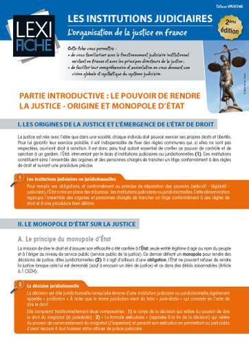 Les Institutions Judiciaires ; L'Organisation De La Justice En France (2e Edition)