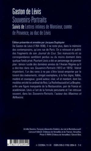 Souvenirs-portraits ; lettres intimes de monsieur, comte de Provence, au duc de Lévis