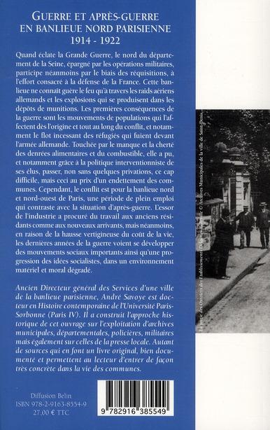 Guerre et après-guerre en banlieue nord de Paris (1914-1922)