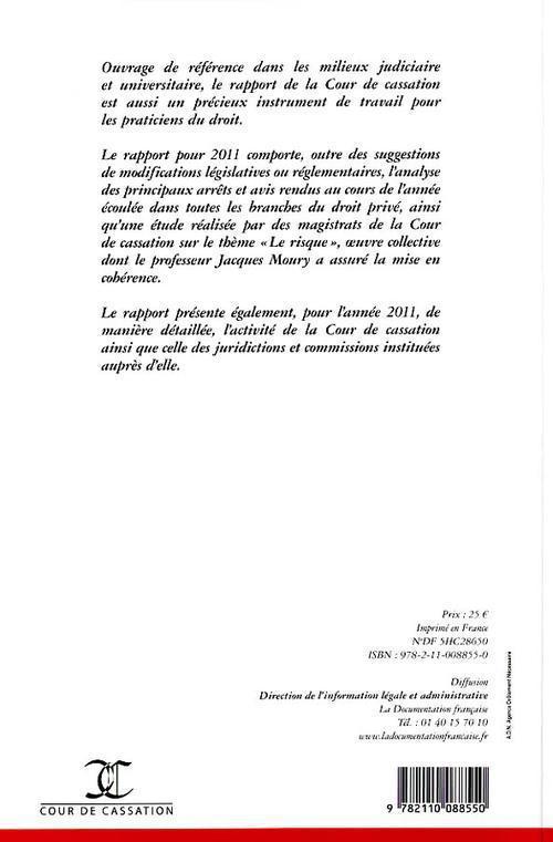 Rapport annuel 2011 de la Cour de Cassation ; le risque