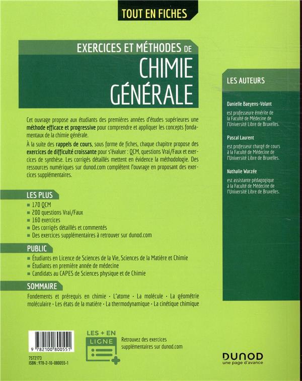 Exercices et méthodes de chimie générale (2e édition)