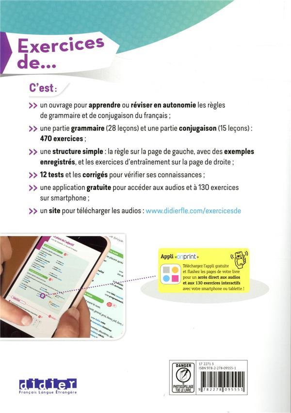 Exercices de grammaire & conjugaison du français ; A2