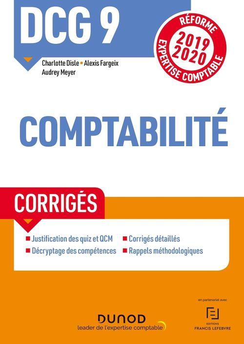 DCG 9 ; introduction à la comptabilité ; corrigés (édition 2019/2020)
