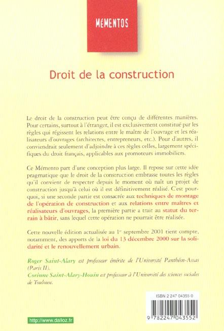 Droit de la construction ; 6e edition
