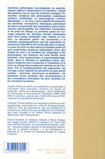 Amnesies organiques aux amnesies psychogenes (des)