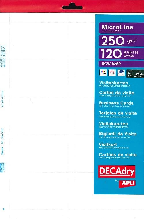 Pack 12x10 cartes visite BLANC 250g