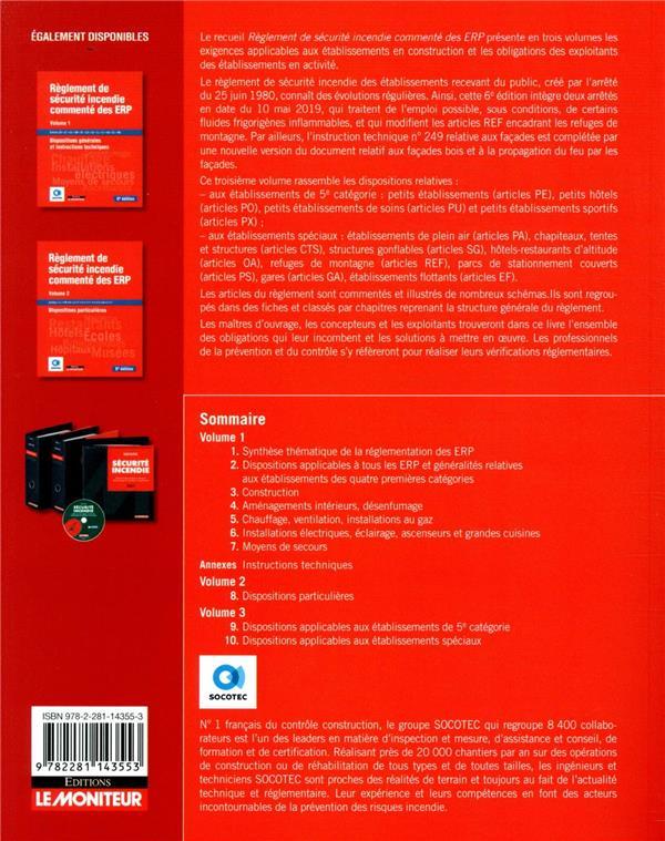 Règlement de sécurité incendie commenté des ERP t.3 ; établissements de 5e catégorie, établissements spéciaux (6e édition)
