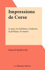 Vente EBooks : Impressions de Corse  - Edmond Spalikowski