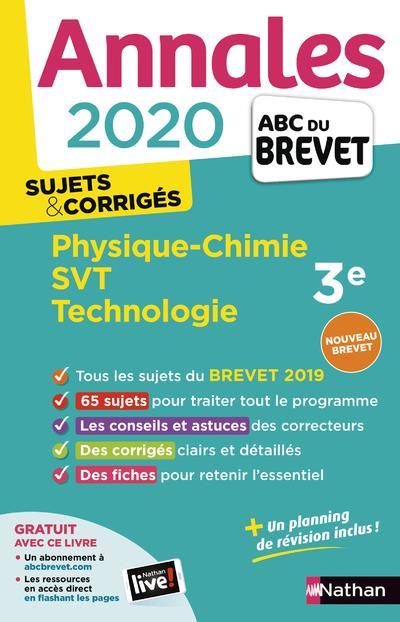 ANNALES ABC BREVET T.22 ; physique-chimie, SVT, technologie ; 3e ; sujets & corrigés (édition 2020)