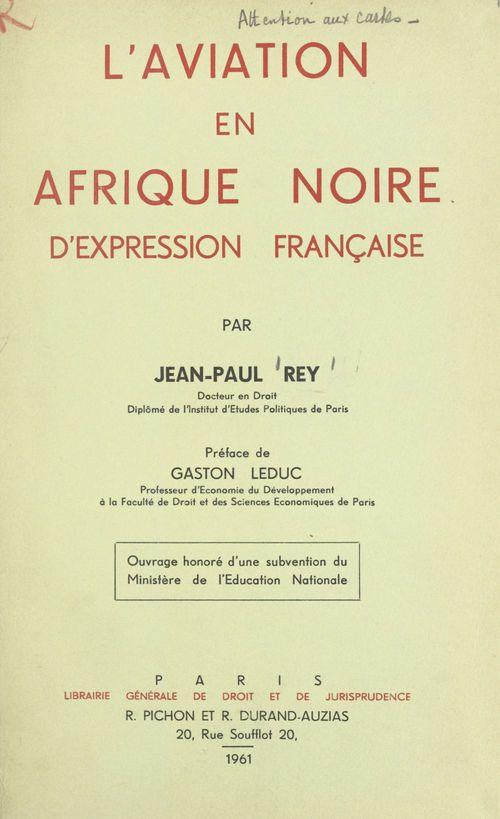 L'aviation en Afrique noire d'expression française