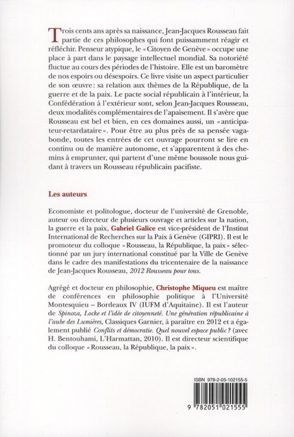 Penser la République, la guerre et la paix ; sur les traces de Jean-Jacques Rousseau