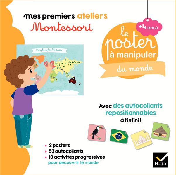 mes premiers ateliers Montessori ; coffret Montessori poster à manipuler du monde
