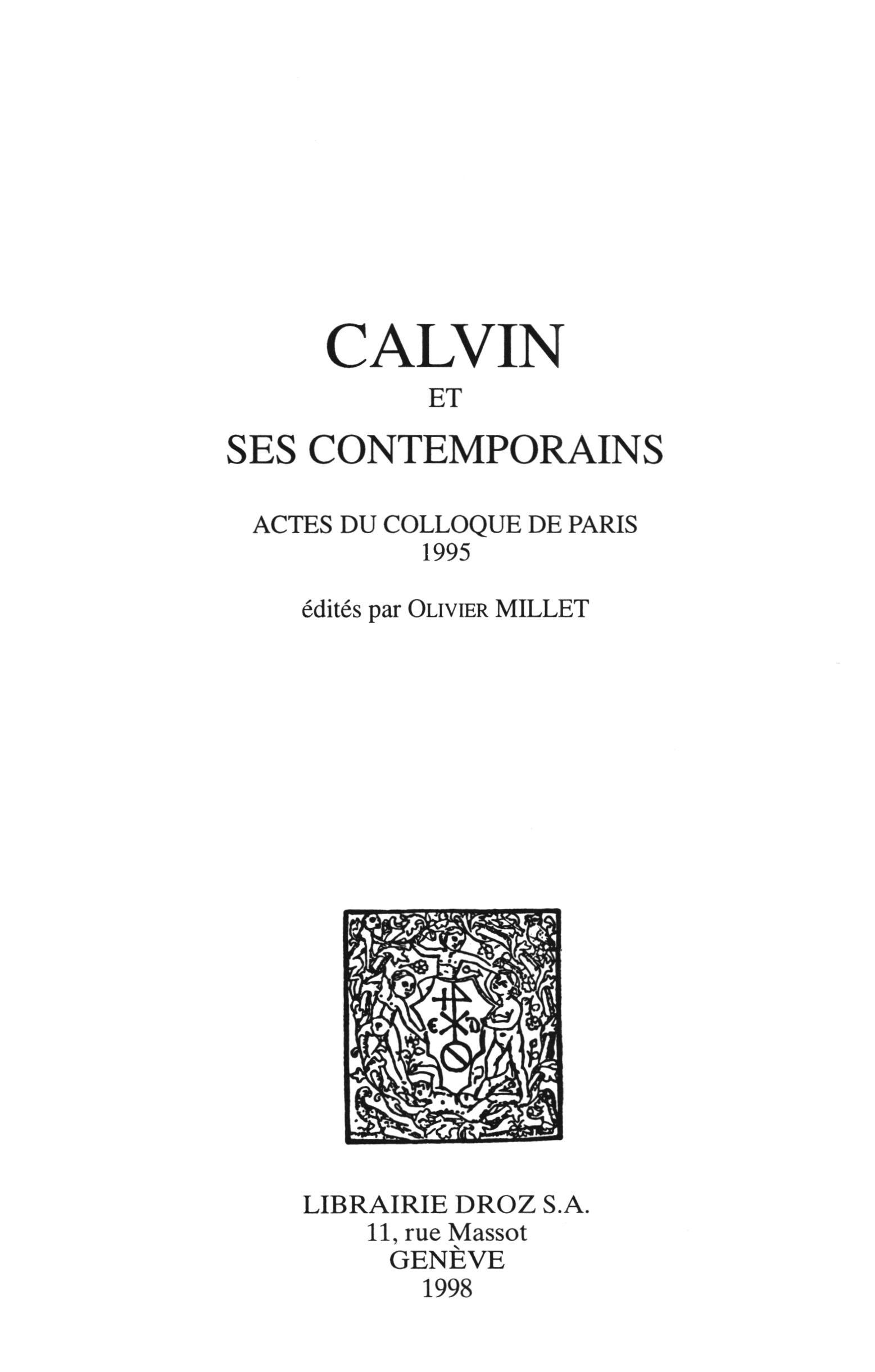 Calvin et ses contemporains