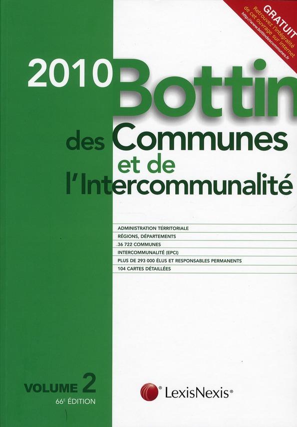 Bottin des communes et de l'intercommunalité t.2 (édition 2010)