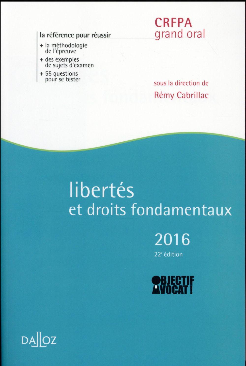 Libertés et droits fondamentaux (édition 2016)