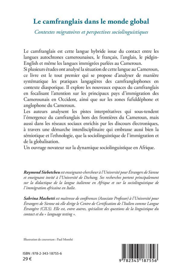 Le camfranglais dans le monde global ; contextes migratoires et perspectives sociolinguistiques