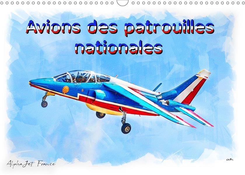 Avions des patrouilles nationales ; série de 12 tableaux, créations originales d'avions de patrouilles nationales ; calendrier mural 2020
