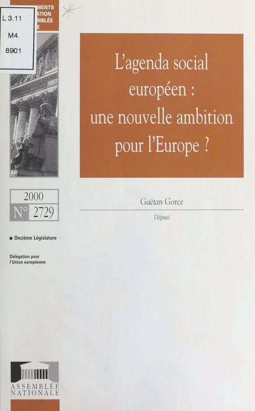 L'Agenda social européen : Une nouvelle ambition pour l'Europe