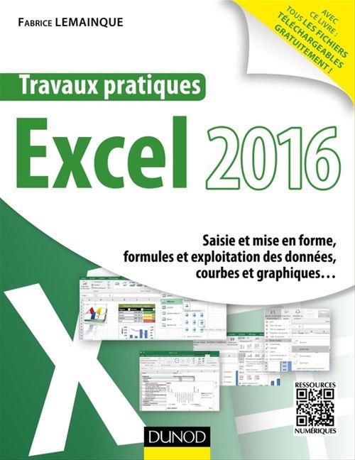 Travaux pratiques avec Excel ; saisie et mise en forme, formules et exploitation des données, courbes et graphiques (édition 2016)
