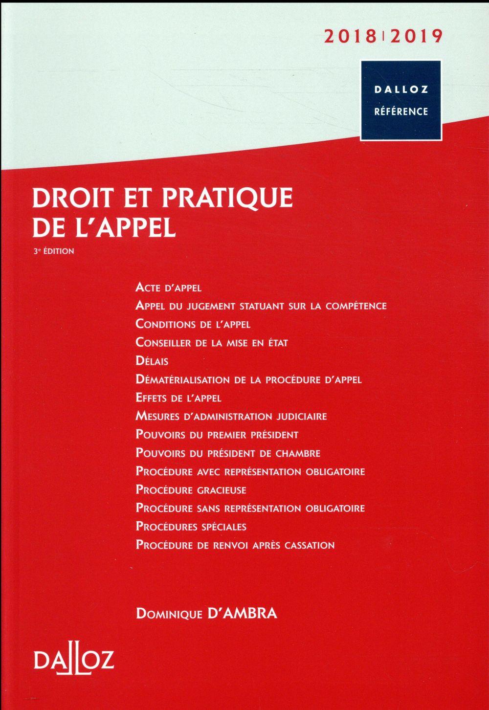 Droit et pratique de l'appel (édition 2018/2019) (3e édition)