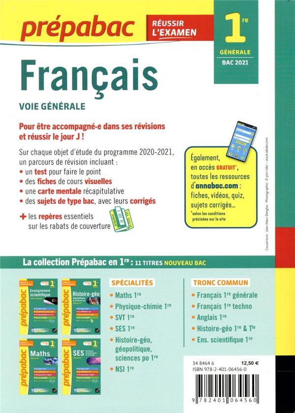 Prépabac réussir l'examen ; français, voie générale ; 1re générale (édition 2021)