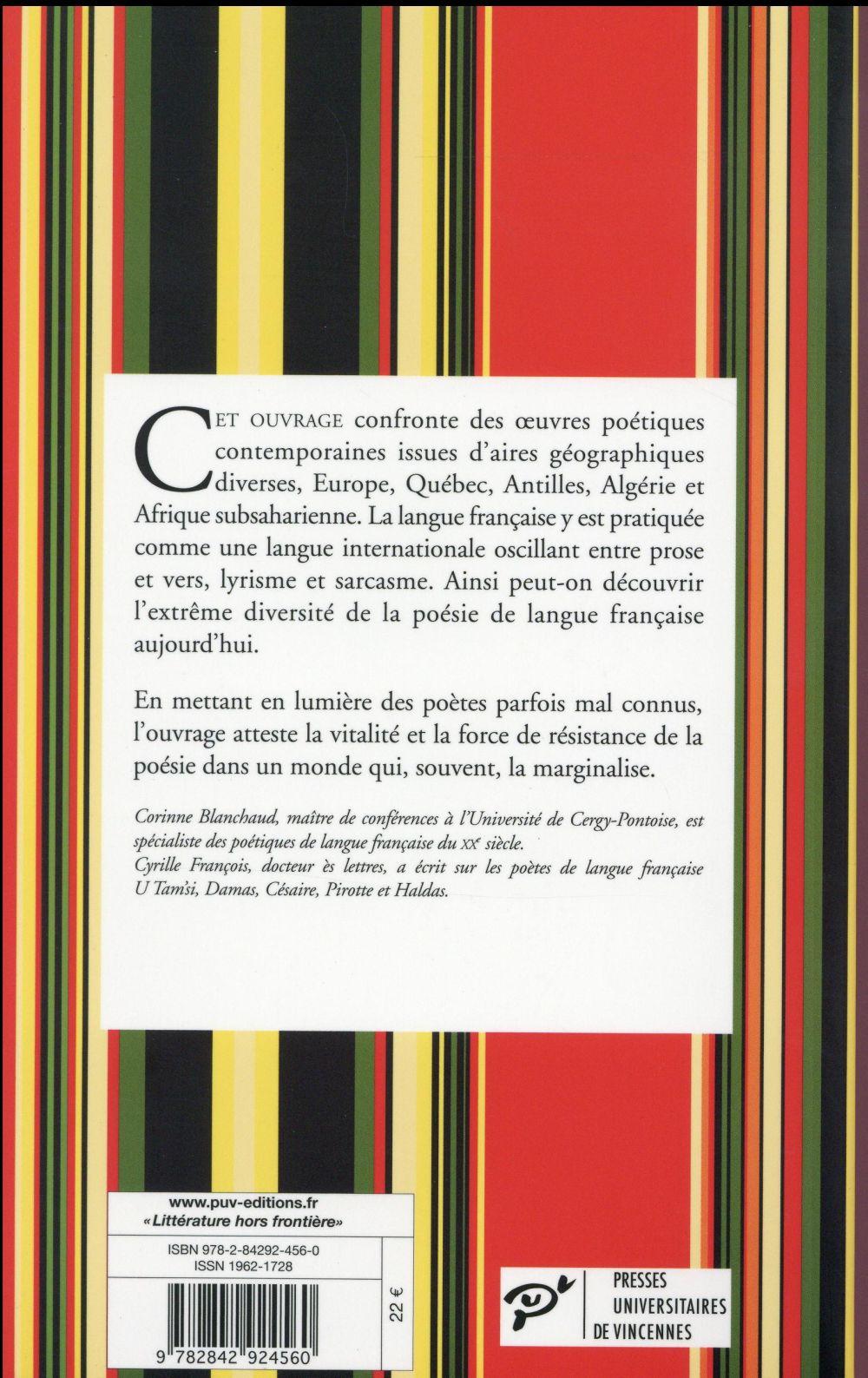 Pour la poésie ; poètes de langue française (XXe-XXIe siècle)