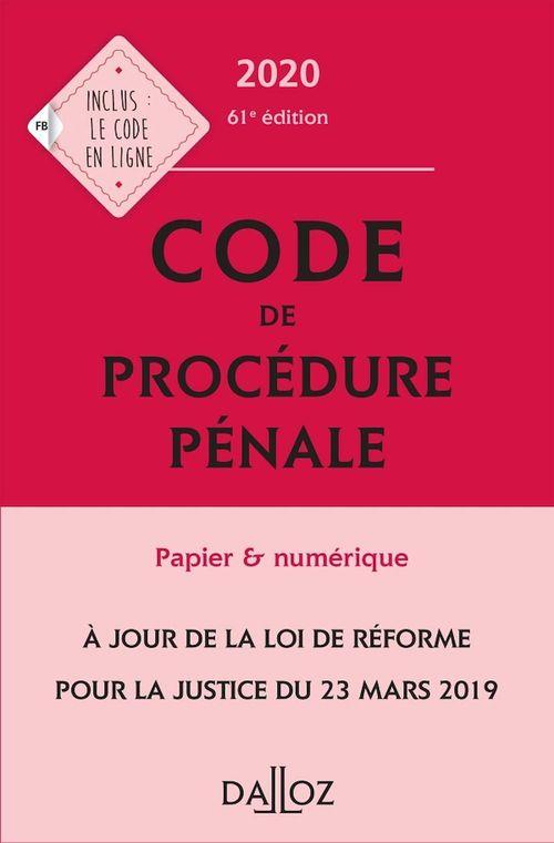 Code de procédure pénale (édition 2020)