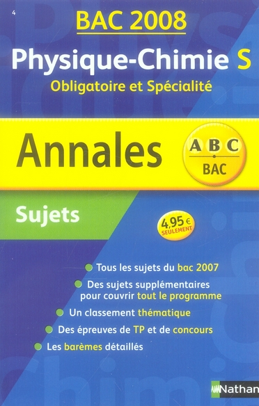 Annales ABC du bac ; sujets non corrigés ; physique-chimie ; terminale S ; obligatoire et spécialité (édition 2008)