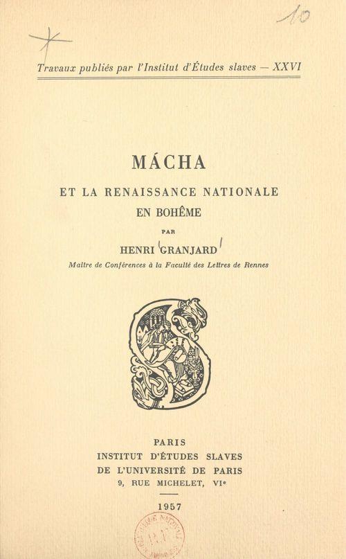 Mácha et la Renaissance nationale en Bohême