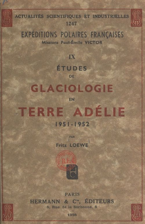 Études de glaciologie en Terre Adélie, 1951-1952