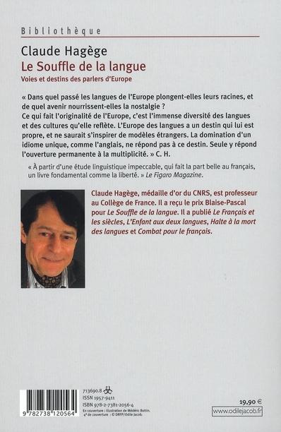 Le Souffle De La Langue Voies Et Destins Des Parlers D Europe Claude Hagege Odile Jacob Grand Format Le Hall Du Livre Nancy