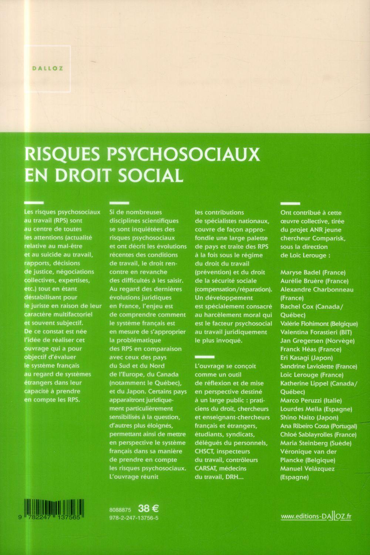 Risques psychosociaux en droit social ; approche juridique comparée : France, Europe, Canada, Japon