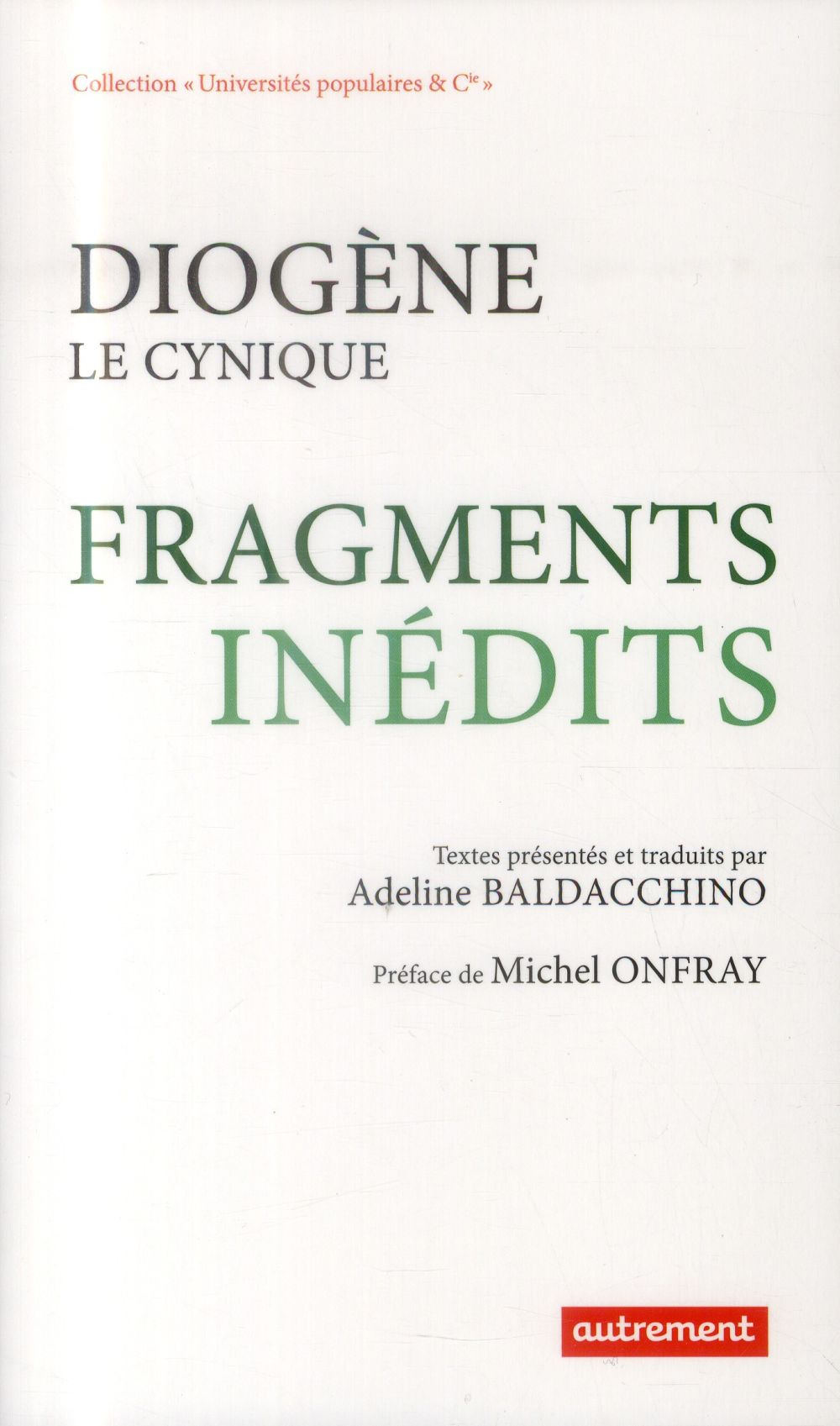 Diogène le cynique ; fragments inédits