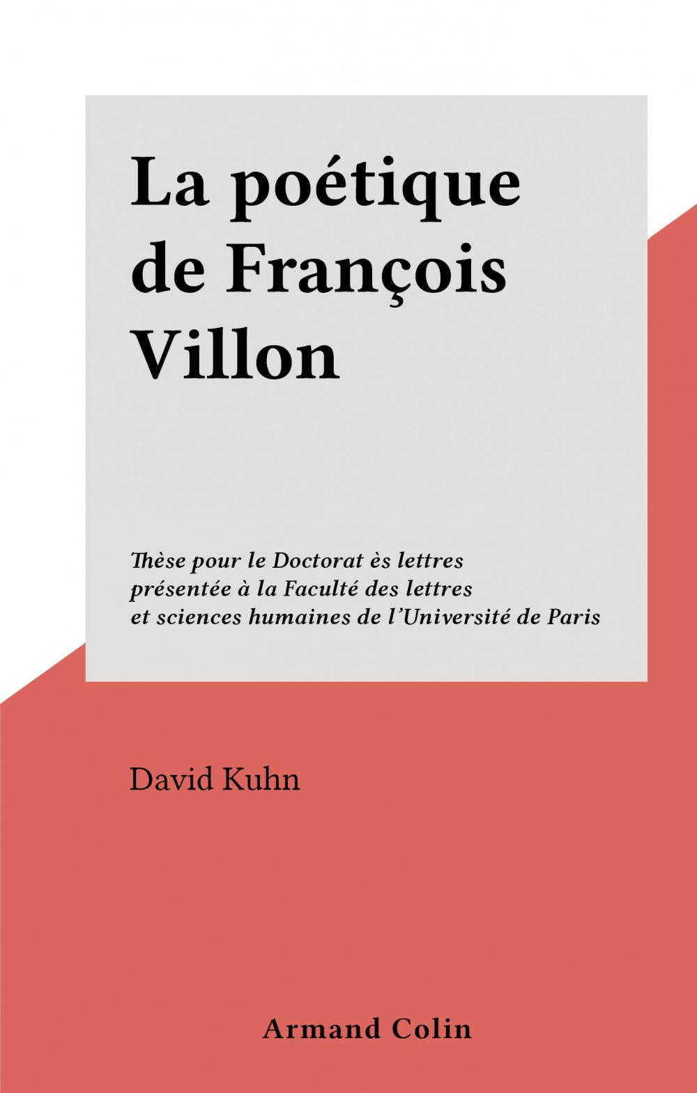 La poétique de François Villon